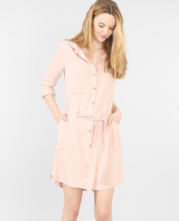 Abito camicia con cintura rosa antico