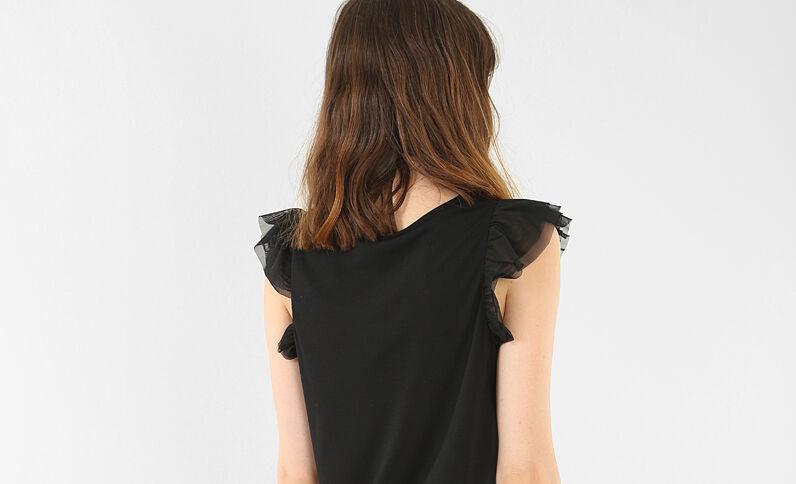 Camiseta volante tul negro