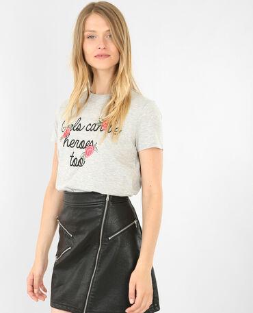 T-shirt à broderies gris chiné