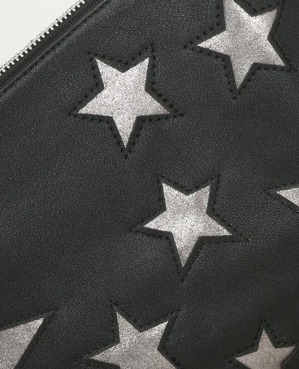 Clutch mit Sternenmotiv Schwarz
