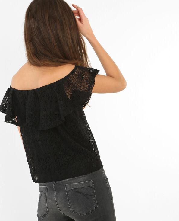 Schulterfreies Top aus Spitze Schwarz