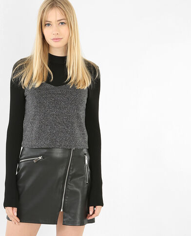 Top cropped lurex noir