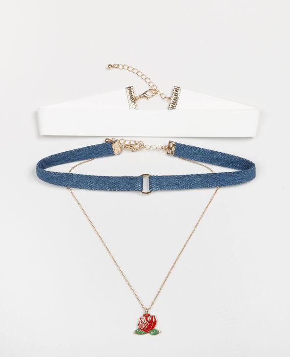 Lot de 2 colliers chockers + pendentif bleu denim