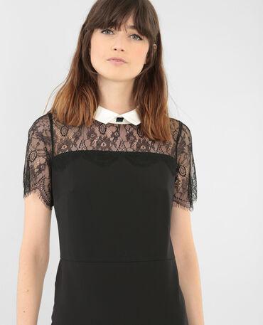 Spitzen-Kleid mit weißem Kragen Schwarz
