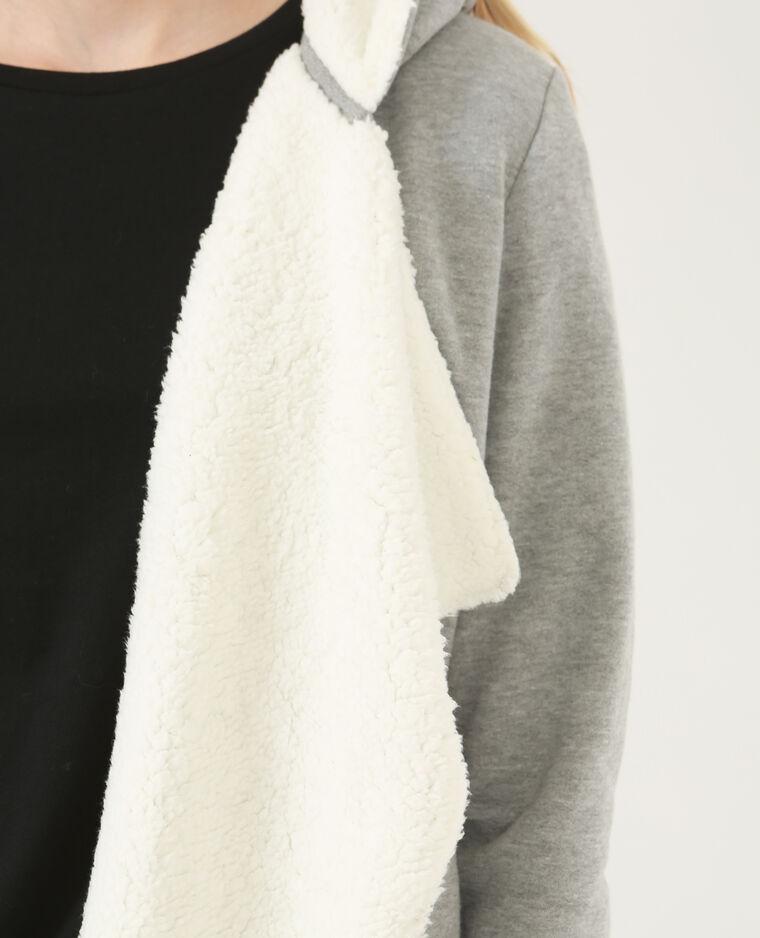 Chaqueta estilo sudadera forrada gris jaspeado