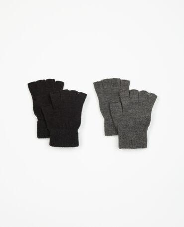 Set Halbfingerhandschuhe Schwarz