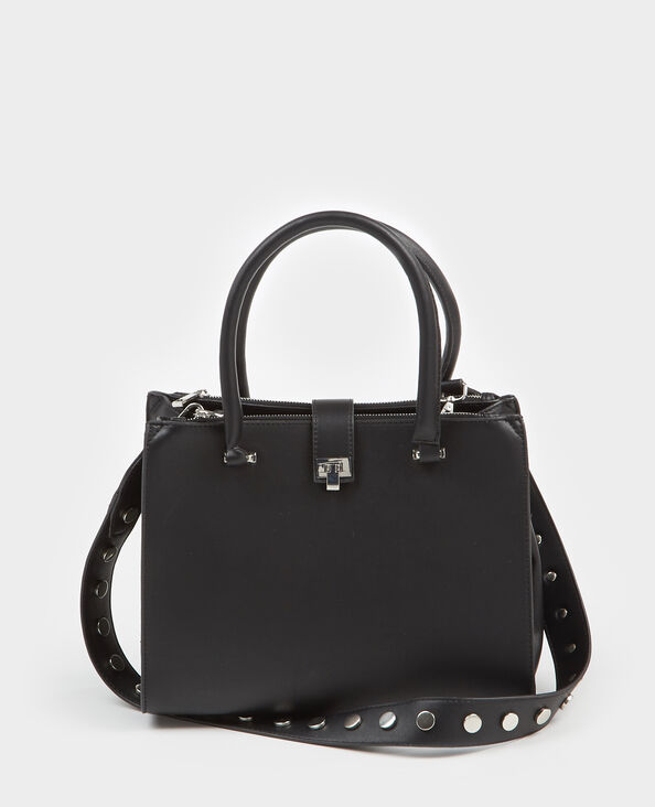 Borsa shopping con cinghia e borchie nero
