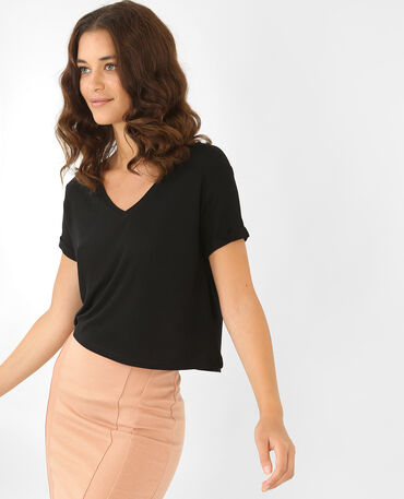 Cropped top côtelé noir