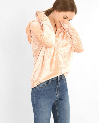Cardigan in velluto ricamato rosa