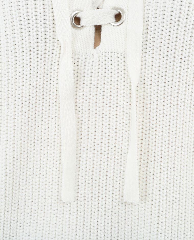 Pull maille à laçets blanc cassé