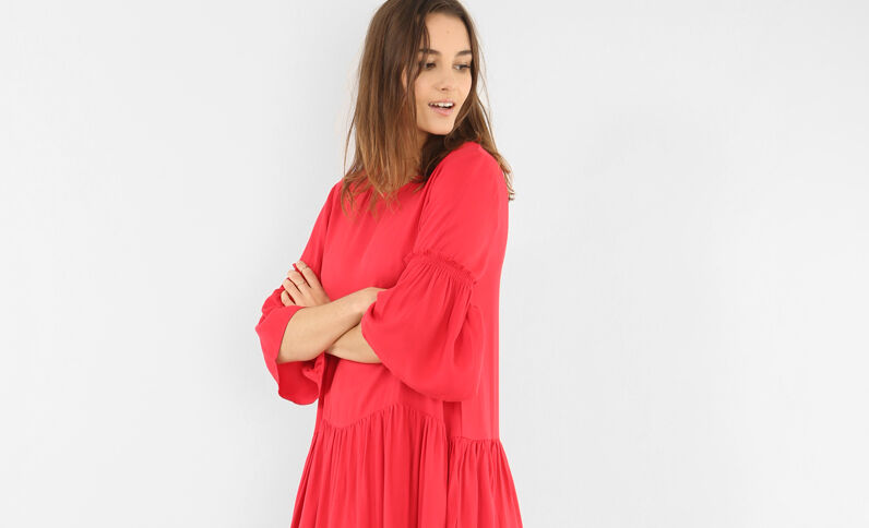 Peplum-Kleid Rot