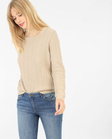 Pull ajouré col rond Beige