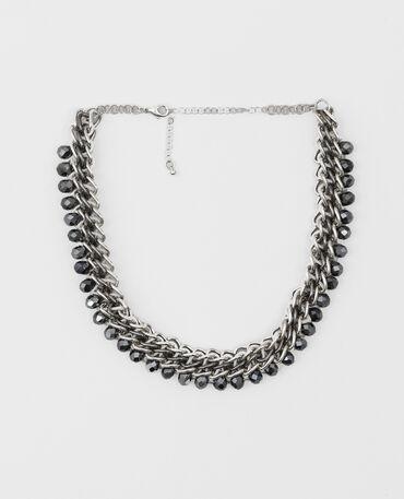 Collar de cadena y perlas gris brillante