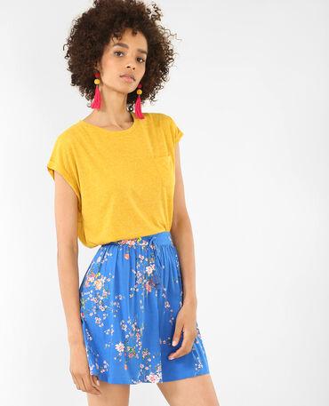T-shirt à manches courtes jaune moutarde