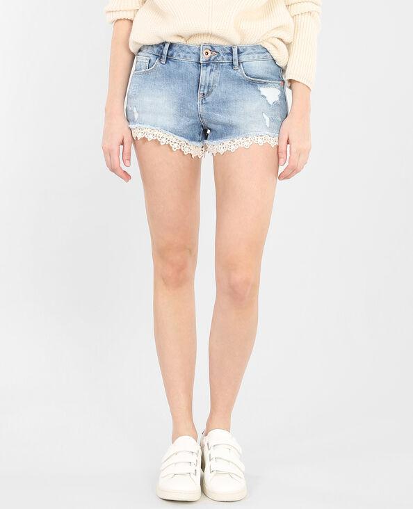 Mini-Shorts aus Denim und Spitze Denimblau