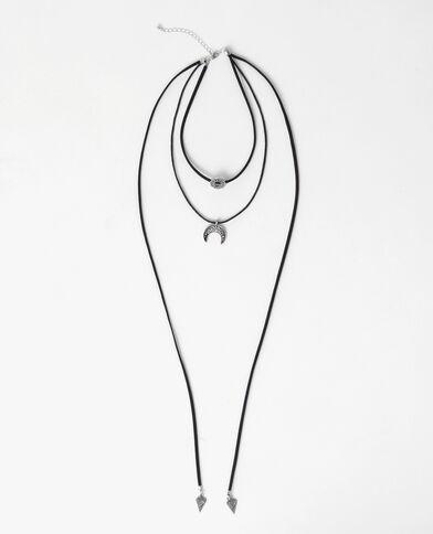 Collier multi-rangs gris argenté