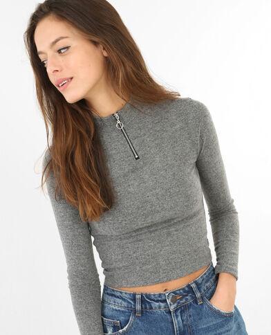 Pull cropped zippé gris