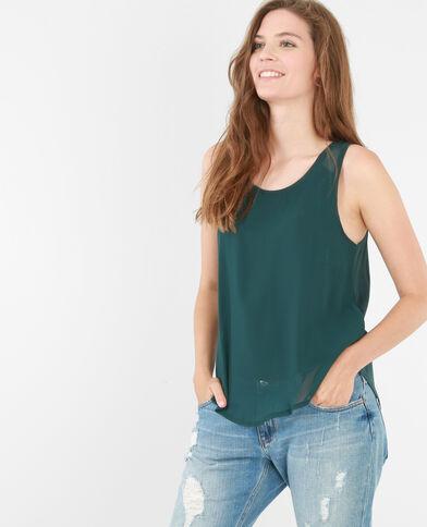 Camiseta de tirantes de dos tejidos verde abeto