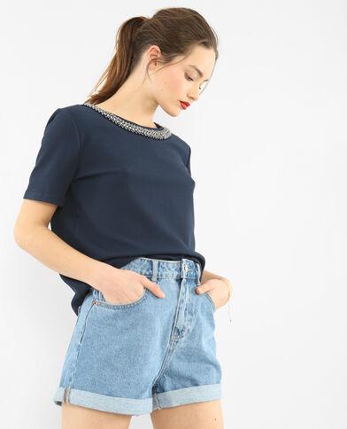 T-shirt collo gioiello blu marino