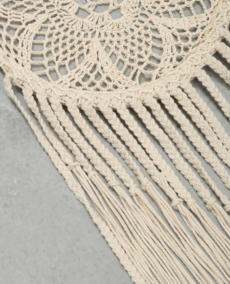 Grand attrape-rêves crochet blanc cassé