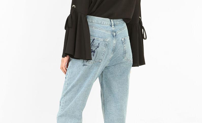 Jeans mum estampados azul vaquero