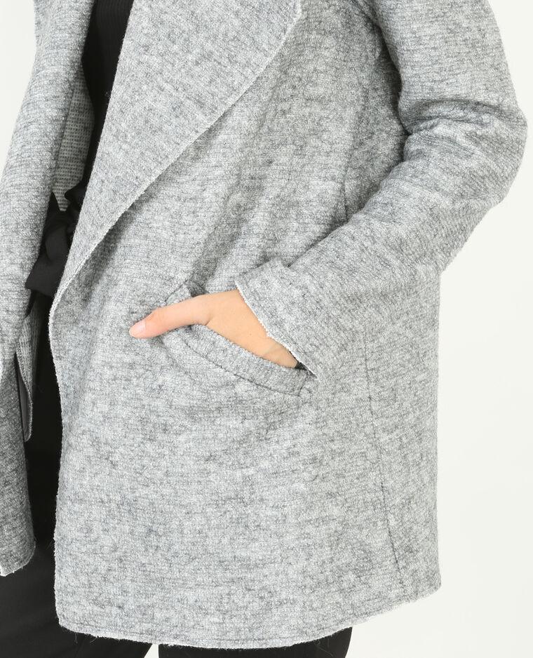 Chaqueta cálida abierta gris jaspeado