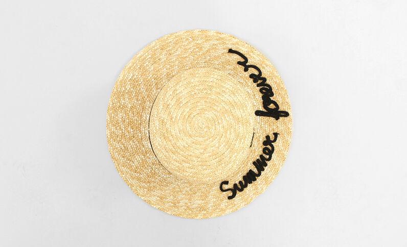 Canotier-Hut mit Schriftzug Hellbeige