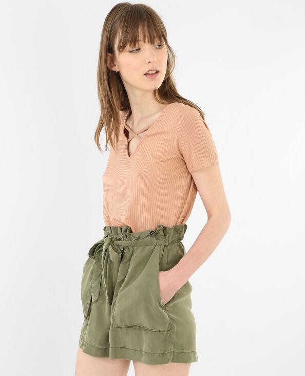 T-shirt col croisé brun