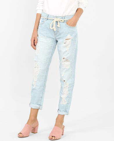 Destroyed boyfriend jeans blauw