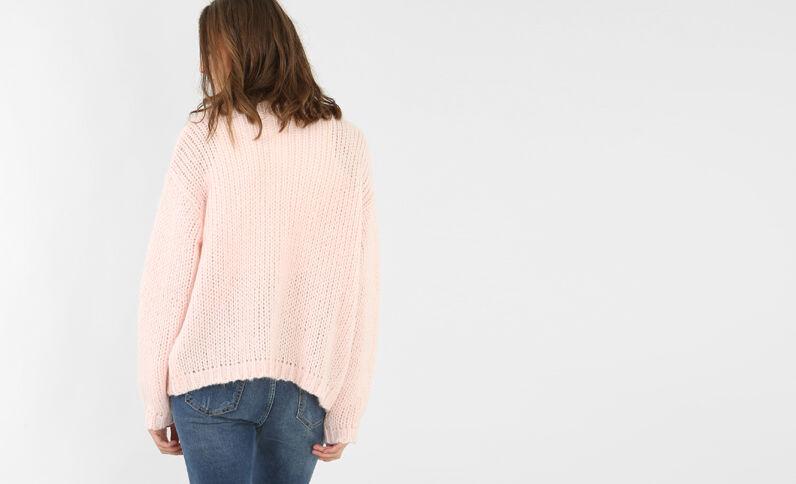 Chaqueta de punto grueso rosa