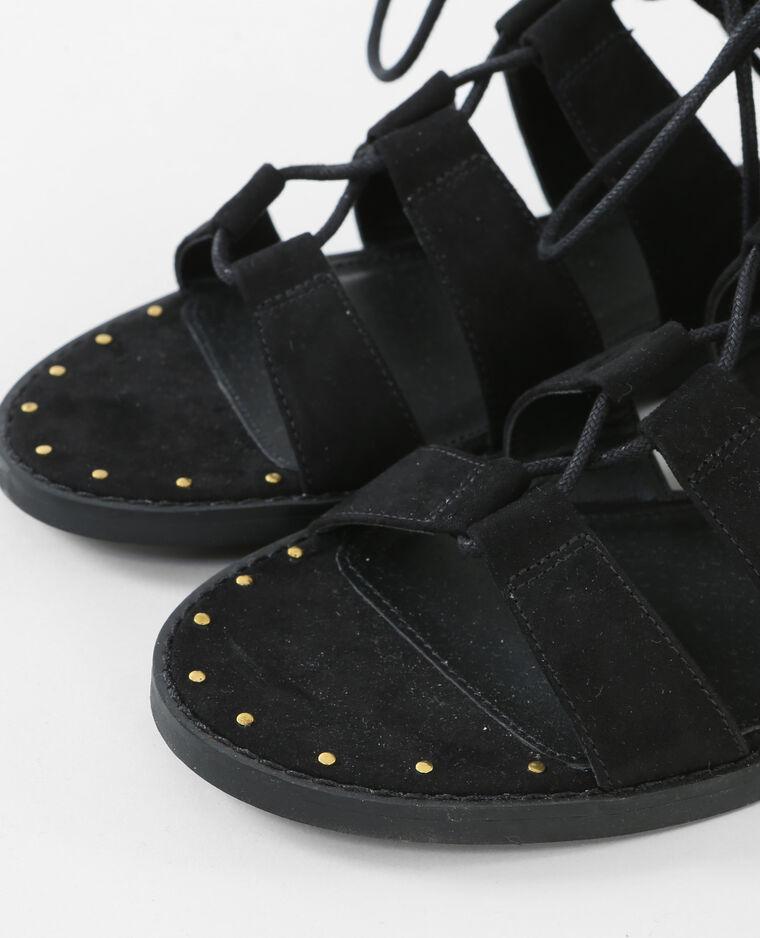 flache sandaletten zum schn ren schwarz 988084899a08 pimkie. Black Bedroom Furniture Sets. Home Design Ideas