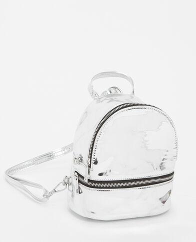 Mini sac à dos en vinyle gris argenté