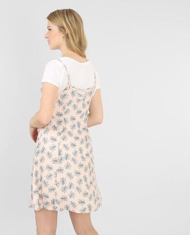 Bedrucktes Trapez-Kleid Blassrosa