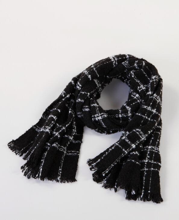 Maxi sciarpa effetto bouclé nero