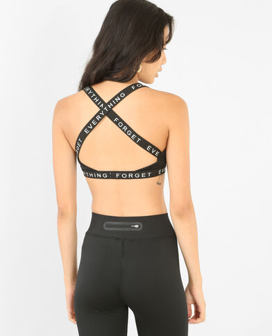 Sportbeha met gekruiste rugbandjes zwart