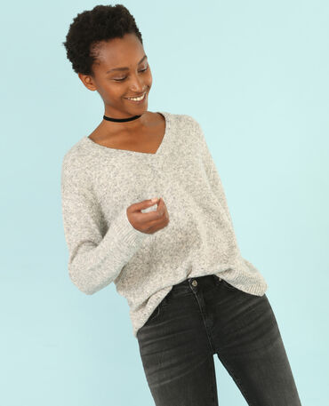 Melierter Pullover mit V-Ausschnitt Grau meliert