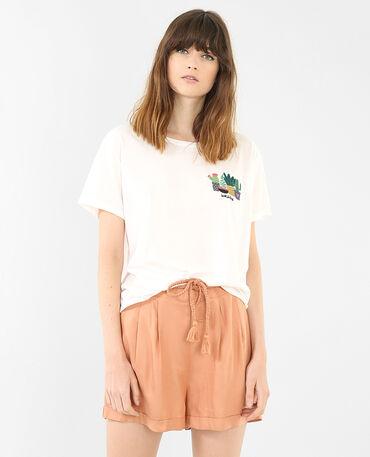 Camiseta bordado cactus marfil