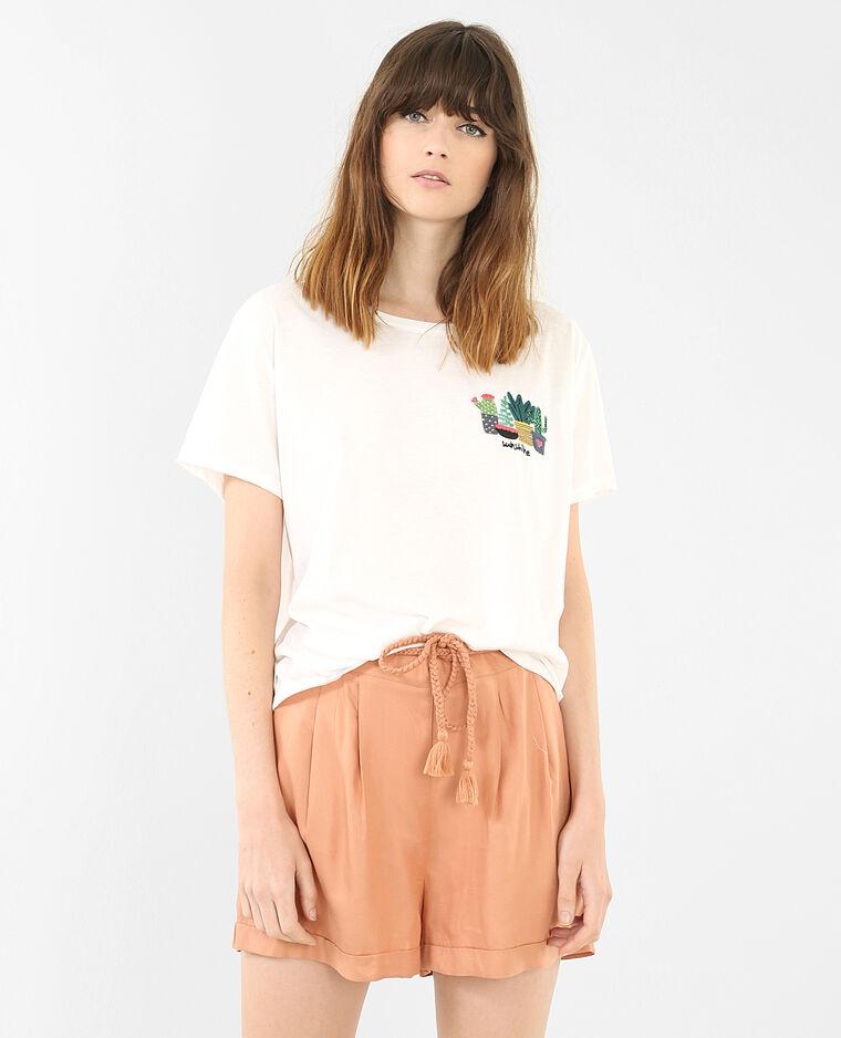T-Shirt bestickt mit Kaktus-Motiv Altweiß
