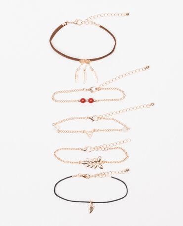 Lot de 5 bracelets doré