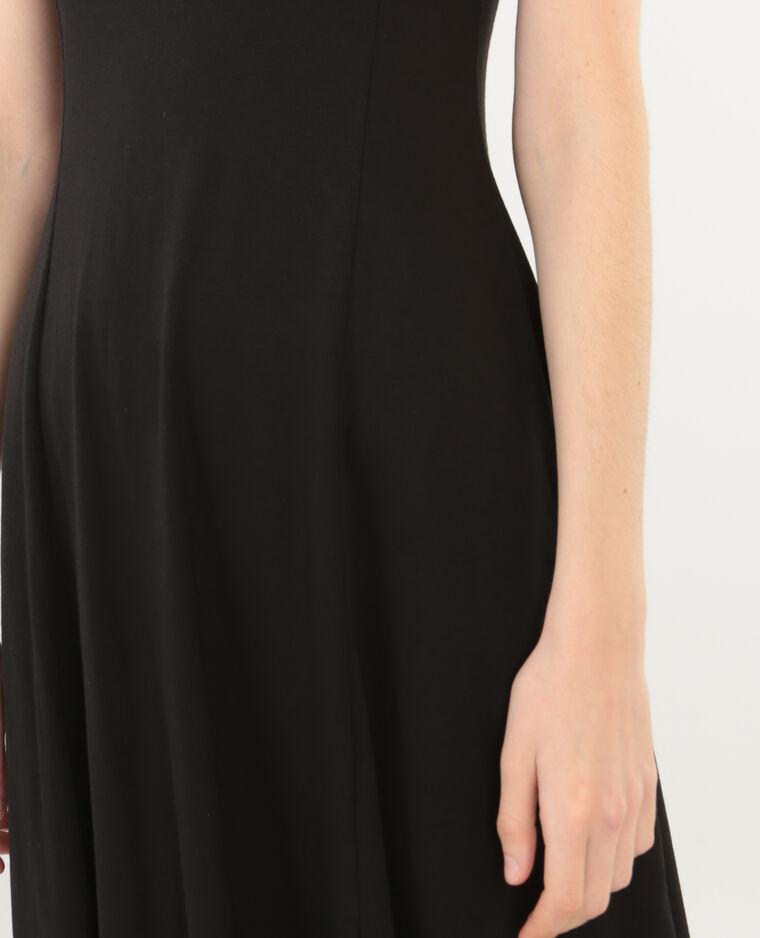 Trapez-Kleid mit rundem Rückenausschnitt. Schwarz