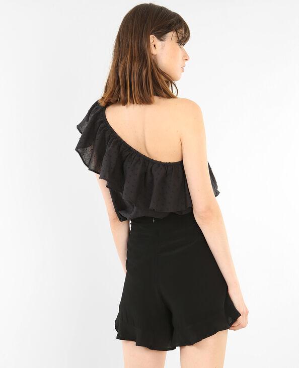 Blusa de un solo hombro con volantes negro