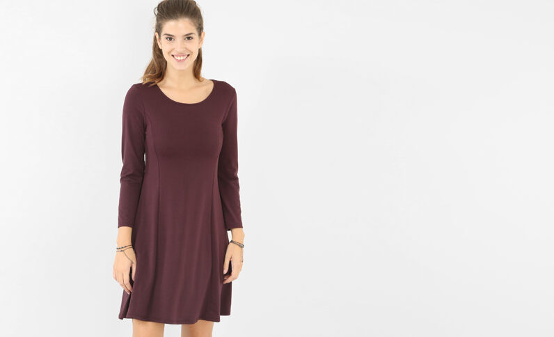 Trapez-Kleid Bordeauxrot