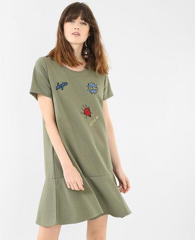 Robe sweat à patchs vert
