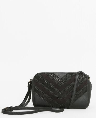 Boxy-Tasche aus Krokoleder-Imitation Schwarz
