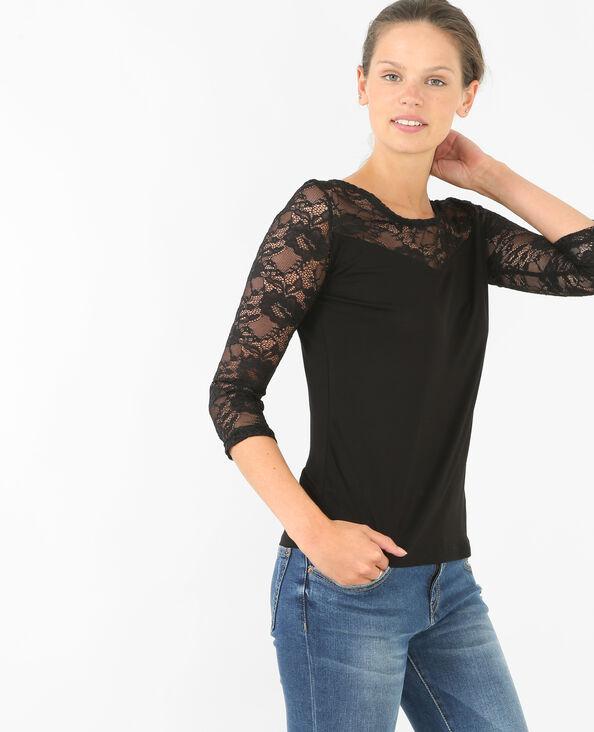 Spitzen-T-Shirt Schwarz