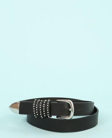 Cinturón fino con tachuelas en trabillas negro