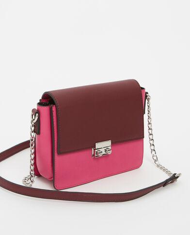 Borsa boxy bicolore rosa fucsia