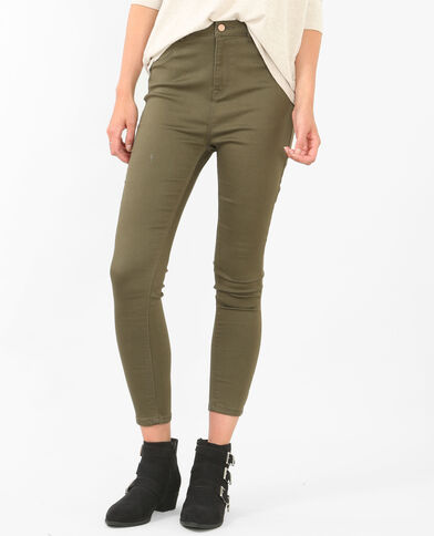 Skinny-Jeans mit hoher Taille Grün