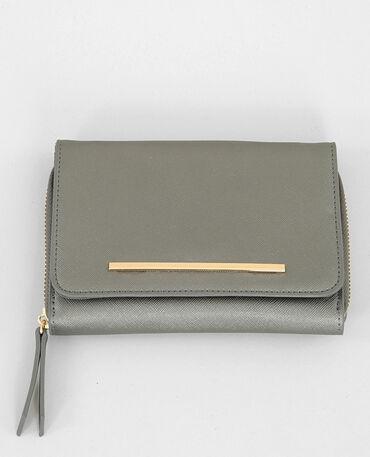 Micro borsa pochette silver grigio