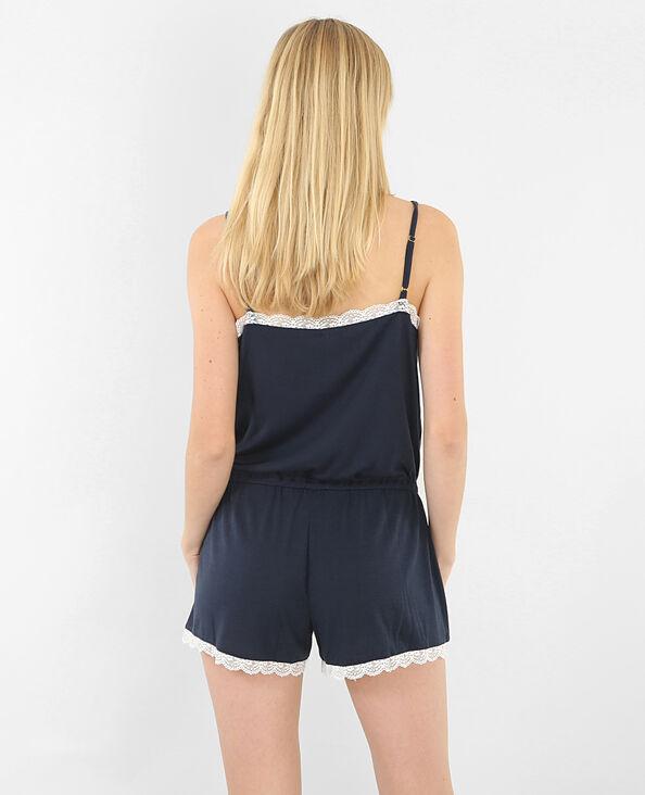 Combi-short homewear dentelle bleu